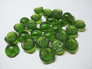 Green quartz carved flower beads15mm. DIY loose beads.16''