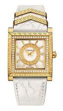 Versace Women's  VQF060015 DV-25 DIAMOND Gold IP Square White Leather Watch