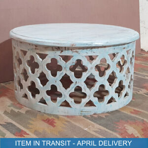 Bristol Hand Carved Indian Solid Wood Round Coffee Table Blue 80 x 80 x 40 cm