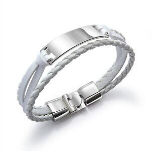 Stainless Steel Multilayer Bracelet Genuine Leather Braided Bracelet Men Jewelry