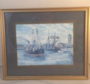 J.C.Burnie seascape Nautical theme Framed print Boat Ship Watercolour Gold Frame