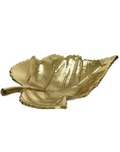 Autumn Leaf Gold Metal Decorative Plate Bowl Dish Table Ornament L22 x W17 x H7