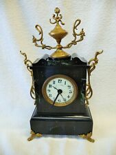 Antique Black Marble (Friench-?) Alarm Clock with brass Decorations