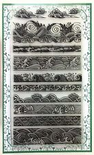 Clear Stamps Sheet (90x170mm) Ocean Waves Borders Vintage China Japan FLONZ 005