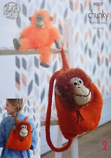 KNITTING PATTERN Orangutan Backpack & Toy Chunky Tinsel Yarn King Cole 9057