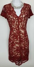 Glamorous Lace Dress Netted VNeck Red Short Sleeve Night Party Mini Fitted Small