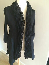 STUNNING NWT BLACK CRINKLE TEXTURED EVENING JACKET BY LINDI SIZE LARGE RRP £169