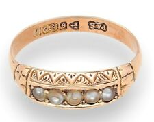 Vintage 9Carat Yellow Gold Pearl Eternity Ring (Size O 1/2) Circa. Chester 1906