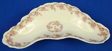 France Limoges Elite Works Pink Rose Garlands Crescent Dish Circa 1900 - 1914