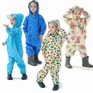 Kids Rain Suit Puddle Boys Girl Kids All in One Overalls Outdoor Play Waterproof