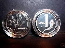 1 Lira  + 2  Lire  1996  Proof Fondo Specchio
