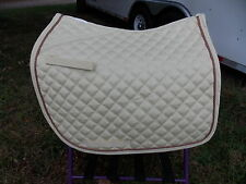 LETTIA  ENGLISH ALL PURPOSE SADDLE PAD HORSE IVORY IVORY AND CAMEL PIPING