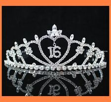 SWEET SIXTEEN 16 RHINESTONE TIARA CROWN WITH COMBS PARTY FASHION JEWELRY T538