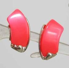 Star 60s Art Moderne Fluorescent Orange Plastic Earrings