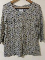 Mistral Retro Style Print Cotton Blouse Top Size 10