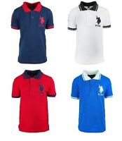 NEW BOYS KIDS US POLO ASSN SUMMER POLO SHIRT RED BLUE AGE 3 4 5 6 7 8 9 10 11 12