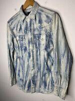 Polo Ralph Lauren Small Shirt Blue Aztec Indian Hunting Western VTG RRL Tie Dye