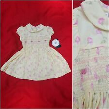 Laura Ashley Girl retro yellow floral smoked romantic dress Size 6 months new