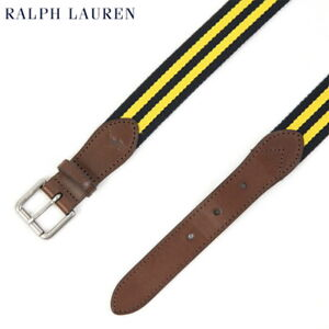 Polo Ralph Lauren Striped Webbed Belt Cotton, Leather - Navy/Yellow -