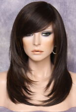 Silky straight Wig Long Razor cut layers bangs Brown mix 4-30 Hairpiece NWT OCL