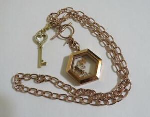 Origami Owl Jewelry Retired Love Family Theme Locket & Necklace Set w Key Charms