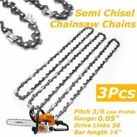 3Pcs 14'' Bar Chainsaw Semi Chisel Chain 3/8'' Low Profile .043'' 50DL for 14''