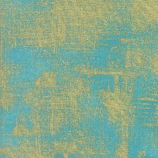Luxe Brushstrokes Metallic Gold on Capri Blue Moda Quilting Cotton Fabric