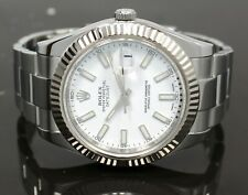 Rolex Datejust II 116334 41mm White Dial 18K White Gold Bezel Watch PAPERS MINT