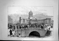 Old Print Kazan Cathedral St Petersburg People Spot Emperor Murdered 1881 19th