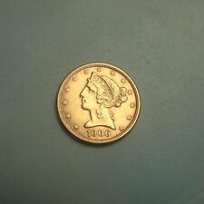 1906-D Gold $5 Liberty Head Half Eagle Coin ~ AU/BU ~