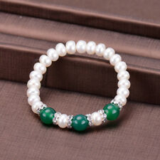 Fashion Women's 7-8mm Natural White Akoya Pearl &Green Jade Bracelet 7.5'' Y3363
