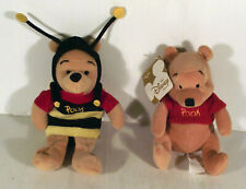 """7"""" BUMBLE BEE INSECT WINNIE THE POOH + 6"""" NORMAL POOH - 2 x SOFT TOY"""