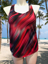 SwimsuitsForAll Chlorine Resistant Tankini Top Racerback PLUS RED NWT W 16 & 18