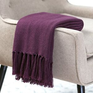 Chanasya Light Silky Solid Textured Throw Blanket w/ Tassels for Couch Chair