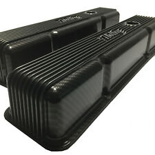 Small Block Chevy Vintage Finned Valve Cover 241-240 Hydro Dipped Sport Carbon