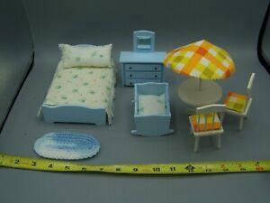 Vintage 1970's Miniature Doll House Bedroom Furniture & Patio Umbrella Set Nice