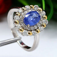 NATURAL 6 X 8 mm. OVAL BLUE TANZANITE & WHITE CZ RING 925 STERLING SILVER