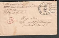 8-14-45 WWII cover Lt J H Hairston Yale Hall University Study APO 49/532 Leghorn