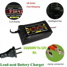 Car Battery Charger 12V 6A Intelligent Full Automatic Auto Smart Fast US Plug