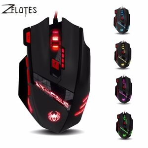 ZELOTES T90 8 Key Wired USB Optical Gaming Mouse 13 Light Mode 9200DPI