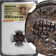 Roman Constantinian Nummus AD 330-340 Roma/She-Wolf & Twins Epfig Hoard NGC XF/4
