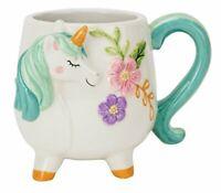 Boston Warehouse Mug, Turquoise Unicorn Collection, 18oz Capacity, Hand Painted