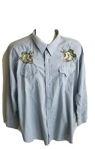 Sheplers Mens Long Sleeve Pearl Snap Button Up Embroidered Shirt Size 18.5/36