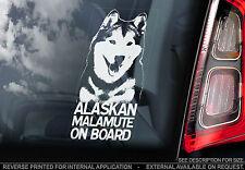 Alaskan Malamute - Dog Car Window Sticker - Wolf Dog On Board Sign, n.Husky