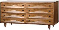 """72"""" Wide Chest Dresser 8 Drawers Solid Walnut Wood Dark Brown Finish Handmade"""
