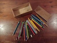 Collectable Wooden Vintage Pencil Case with Sliding Lid + 28 Mixed Pencils