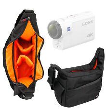 Black & Orange Durable Shoulder Sling Bag for Sony FDR-X3000R Action Camera