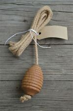 Solid oak beehive light pull toilet cistern pull hanging rope English made