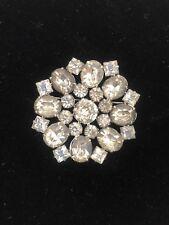 Vintage Kramer Starburst Snowflake Round Clear Foil Backed Rhinestone Brooch Pin