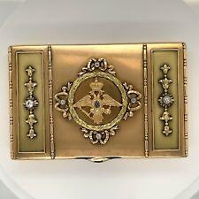 Imperial Presentation Cigarette Case Snuff Box Faberge 14K Gold Enamel & Diamond